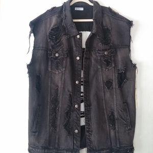 American Bazi • ripped distressed black denim vest